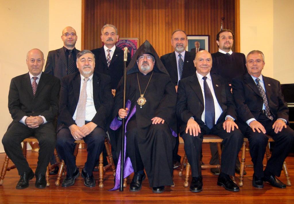 2015 - Seated left to right – Garo Setian, Toros Boghossian [Chairman], Guest ARCHBISHOP Haigazoun Nadjarian, Hovaness Kouyoumdjian, Arto Karagelinian  Standing left to right – Haig Garabedian, Vrej Manoogian, Sarkis Manoukian, Dickran Yeganian