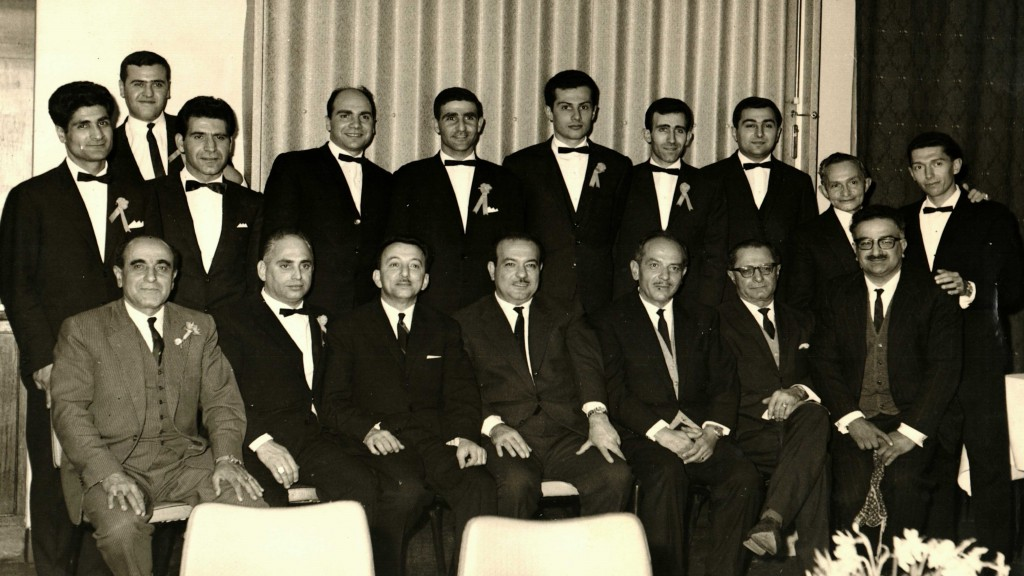 1967 - Seated left to right – Minas Apkar, Noubar Soghomonian, Antranig Keshishian, John Batmanian, Toros Kasabian, Armen Apkar, Berj Sedefdjian Standing left to right – John Nahabedian, Sarkis Boghossian, Hagop Khatchadourian, Hovaness Kouyoumdjian, Noubar Sissagian, Hagop Sebouhian, Varouj Tchetchenian, Zaven Tchetchenian, Neshan Arakelian, Ara Moushigian