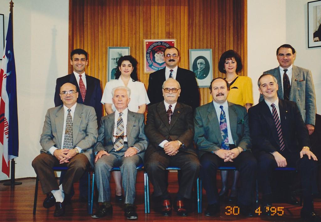 1995 - Seated left to right – Hovaness Kouyoumdjian, AGBU SYDNEY BENEFACTOR Dr Alec Alexander, AGBU – MIOUTUNE MONTHLY Editor Avedis Yapoudjian, Vahe Artinian [Chairman], Aram Hagopian Stranding left to right – Noubar Pezikian, Norma Pezikian-Lauder, Hampar Cakmac, Lucy Aroyan, Dickran Dickranian