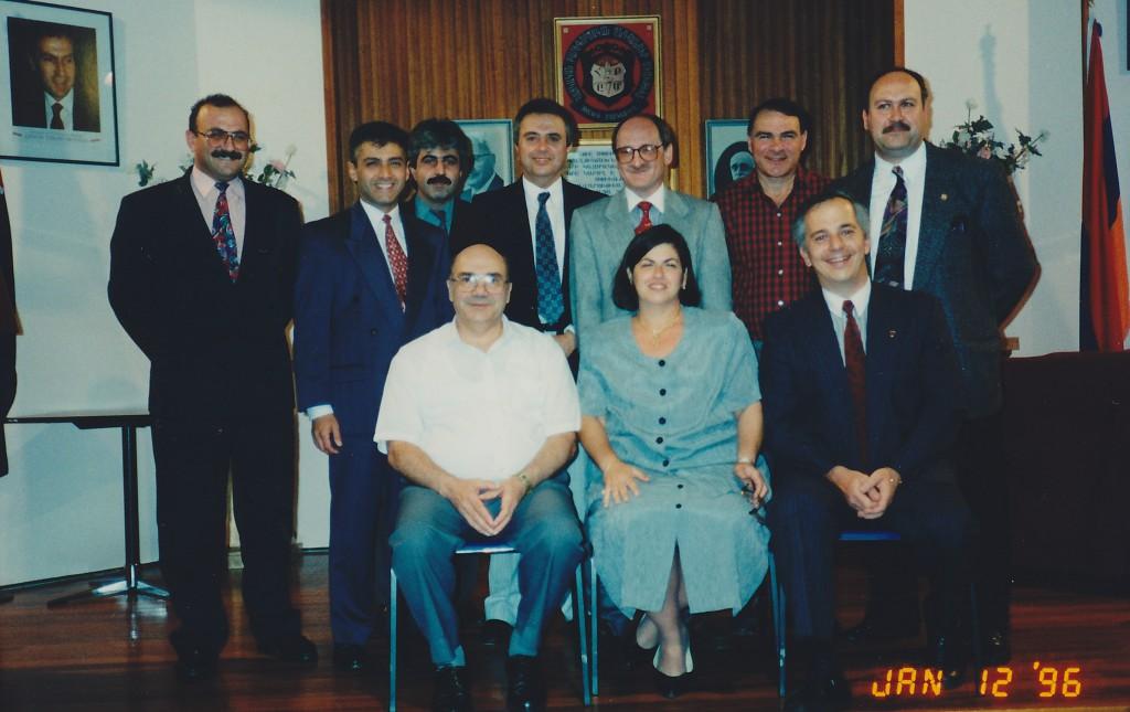 1996 - Seated left to right – Hovaness Kouyoumdjian, Nairi Derderian, Aram Hagopian Standing left to right – Hampar Chakmak, Noubar Pezikian, Boghos Bakla, Arto Karagelinian, Guest Speaker Professor George Bournoutian, Dickran Dickranian, Vahe Artinian [ Chairman]