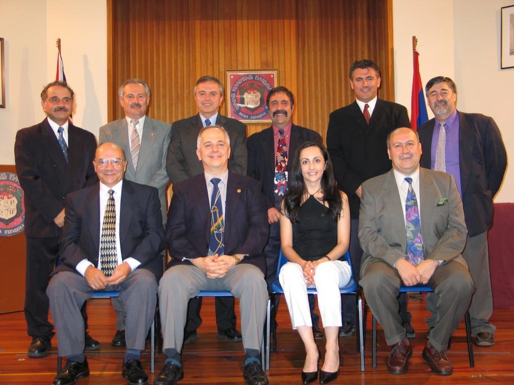 2004 - Seated left to right – Hovaness Kouyoumdjian, Aram Hagopian [ chairman], Taleen Tashdjian, Vahe Artinian Standing left to right – Vrej Manoogian, Hagop Sebouhian, Arto Karagelinian , Raffi Hagopian, George Elmassian, Toros Boghossian